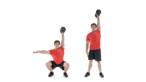 ejercicios con kettlebells Sentadilla con kettlebell por encima de la cabeza