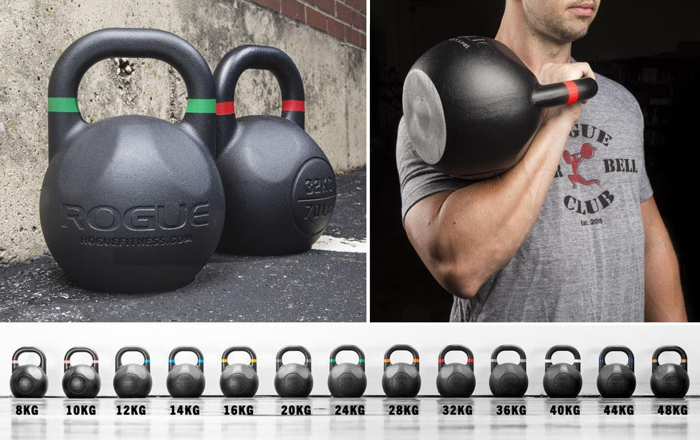 diferentes tamaños de kettlebell de competición