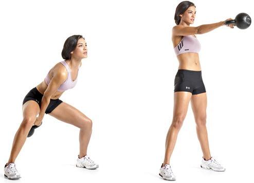 ejercicios con peso: swing a una mano con kettlebell