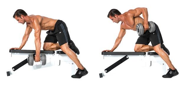 Ejercicios de espalda: remo a una mano