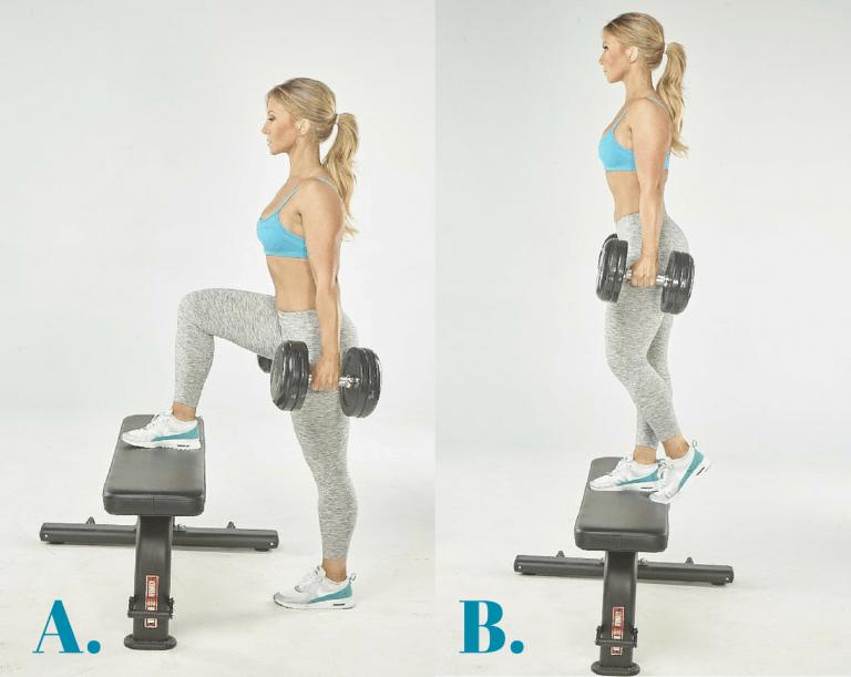 ejercicios con pesas: subir a caja